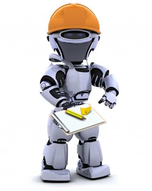 Na imagem tem um robô engenheiro com uma planilha nas mãos e capacete.