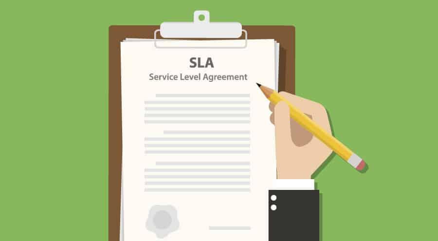 Ilustração explicação do que é SLA, que consiste na sigla para Service Level Agreement (Acordo de Nível de Serviço). Que é utilizada para padronizar a passagem de leads.