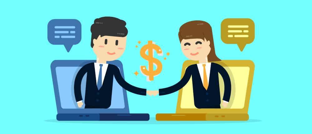 Ilustração com dois personagem em um aperto de mãos simbolizando um acordo entre marketing e vendas.