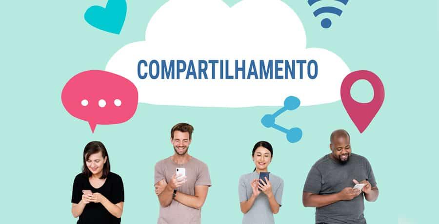 Ilustração com pessoas fazendo o compartilhamento via smartphone, que também se enquadra como uma métrica de vaidade.
